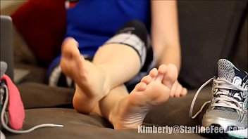 princess peels off sneakers after workout part 1- wwwprettyfeetvideocom