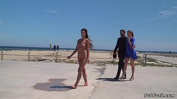 Petite Spanish slave walked in public