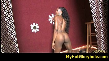 Initiating black girl in the art of interracial gloryhole blowjob 12