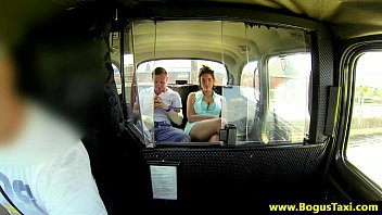 Kinky horny amateur babe sucks boyfriend in cab