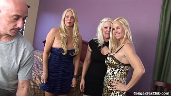 trio silver-blonde cougars in a total-on.