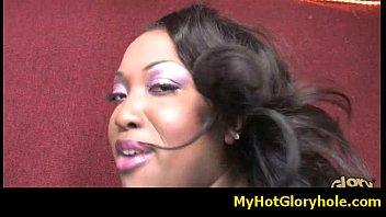 ebony chick initiated in the art of gloryhole.