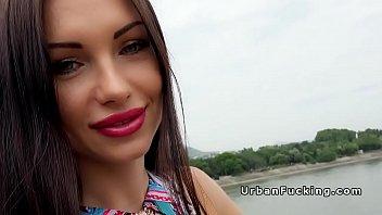 Beautiful Russian babe bangs in public