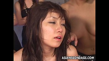 Group of Asian sluts toy fuck the moaning lass